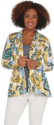 LOGO by Lori Goldstein Printed Cotton Cardigan with Pleats