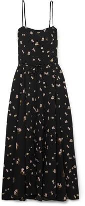 Vince Belted Floral-print Crinkled-crepe Midi Dress