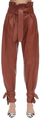 ATTICO Leather High Waist Pants W/Knot