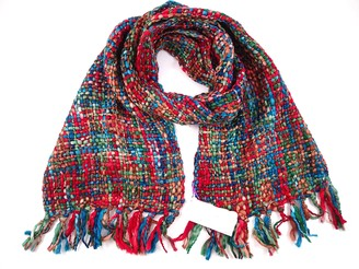 Cool Trade Winds Ladies Soft Winter Scarf - Chunky Tweed Effect Vibrant and Multi Colour - Large and Warm Shawls Wraps Shrugs Poncho - Hygge Cosy - Gifts Presents for Her (Christmas Red)