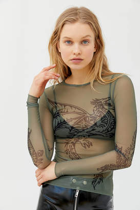 Dragon Optical Hot Lava Mesh Long Sleeve Top