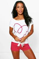Boohoo Tilly Love Heart Polka Dot Short PJ Set