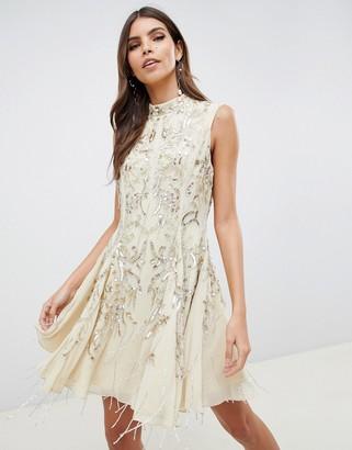 ASOS DESIGN mini dress with art deco embellishment