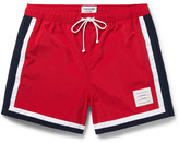 Thom Browne Mid-length Stripe-trimmed Swim Shorts - Red