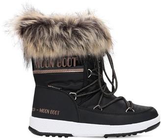 Moon Boot Nylon Snow Boots W/ Faux Fur