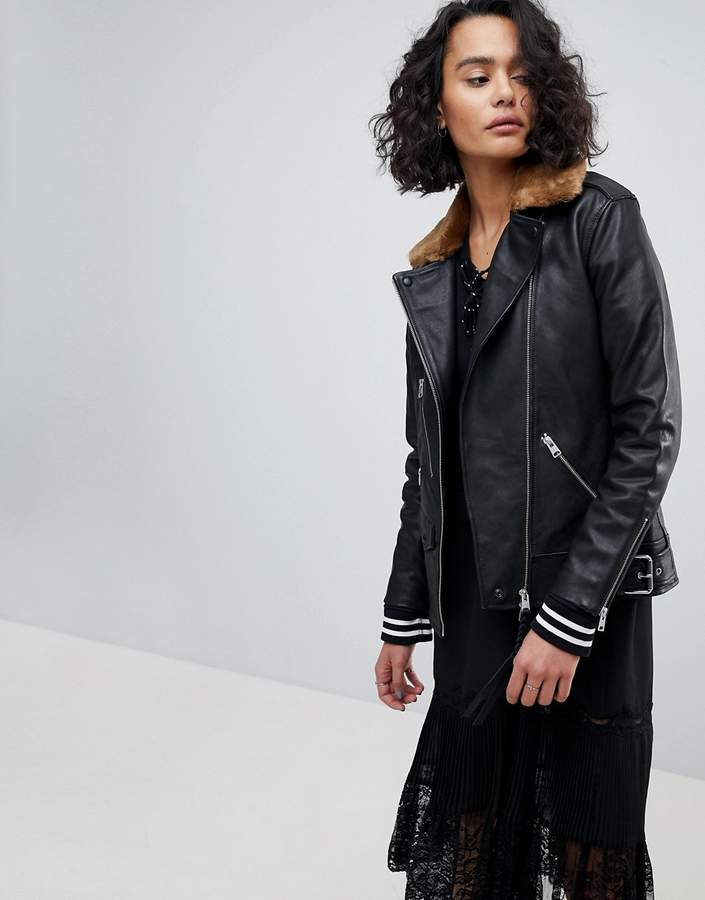 AllSaints Oversized Leather Jacket with Faux Fur Collar