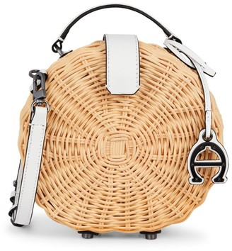 Etienne Aigner Mini Charlotte Leather-Trimmed Straw Crossbody Circle Bag