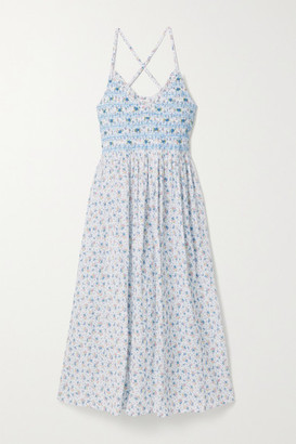 LoveShackFancy Canyon Embroidered Shirred Floral-print Cotton-voile Midi Dress - Blue