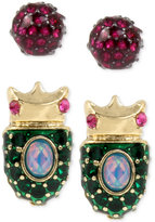 Betsey Johnson Gold-Tone 2-Pc. Set Pavé Beetle and Pink Crystal Stud Earrings