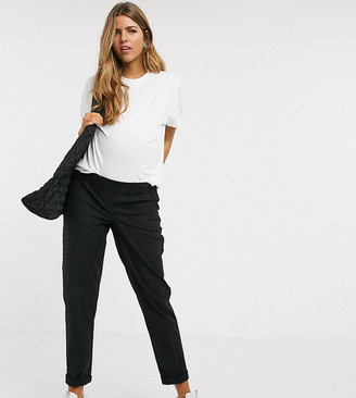 ASOS DESIGN Maternity chino trousers with under the bump waistband in black