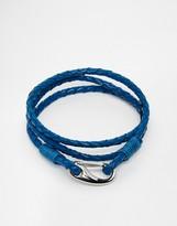 Seven London Plaited Leather Wrap Bracelet In Blue