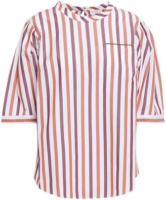 Brunello Cucinelli Bead-embellished Striped Cotton-poplin Blouse