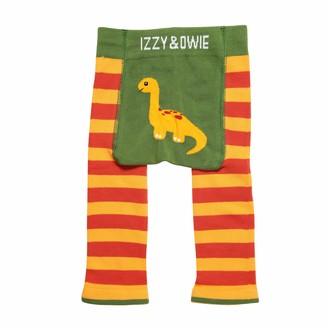 Pavilion Gift Company Dino - Orange 6-12 Month Soft & Stretchy Baby Stripe Leggings