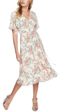 1 STATE Ikat Bouquet Printed Wrap Dress