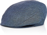Barneys New York MEN'S HERRINGBONE NEWSBOY CAP-BLUE SIZE M
