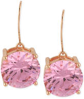 Betsey Johnson Rose Gold-Tone Pink Crystal Drop Earrings
