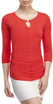 Vince Camuto Petite Solid Ruched Keyhole Top