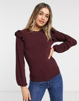 Thumbnail for your product : New Look soft rib frill shoulder top in burgundy