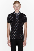 Marc by Marc Jacobs Black morris star plaid-collared polo