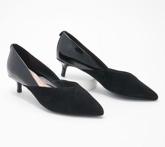 Taryn Rose Suede & Leather Kitten Heel Pumps - Nadine