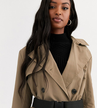 Asos DESIGN Tall seatbelt trench coat in stone