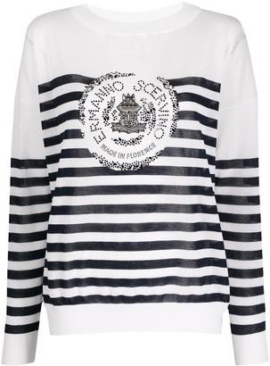 Ermanno Scervino Striped Studded-Logo Sweatshirt
