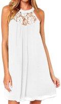 LAPAYA Women's Shift Dress Sleeveless Lace Patchwork Mini Casual Chiffon Dresses
