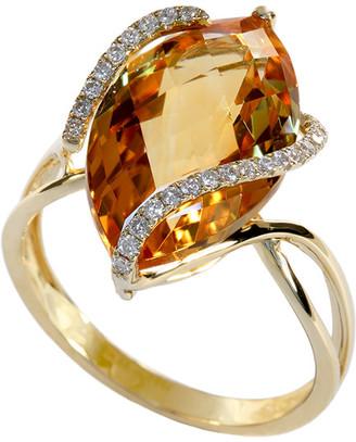 Effy Fine Jewelry 14K 6.60 Ct. Tw. Diamond & Citrine Ring