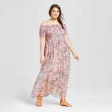 Xhilaration Women's Plus Size Off the Shoulder Maxi Dress Pink Print