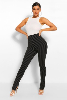 boohoo Pinstripe Split Hem Long Line Slim Fit pants