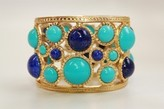 The Well Appointed House BARGAIN BASEMENT ITEM: Kenneth Jay Lane Gold Lapis/Turquoise Cabochon Hinged Cuff - IN STOCK IN OUR GREENWICH STORE FOR QUICK SHIPPING