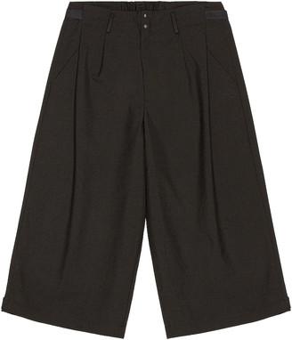 Yohji Yamamoto Winter Wool Cropped Wide Pants in Black | FWRD