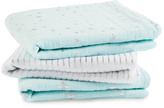 Aden Anais aden + anais Silver Printed Sky Blue and White Swaddling Blanket - Pack of 3