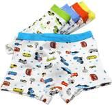 Cocominibox 5 Pack Brief Cartoon Boys Boxer Brief Underwear 2-7 Years (L, )
