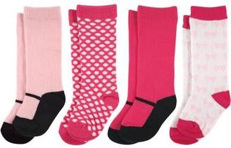 Luvable Friends Newborn Baby Girls Knee High Socks 4 Pack