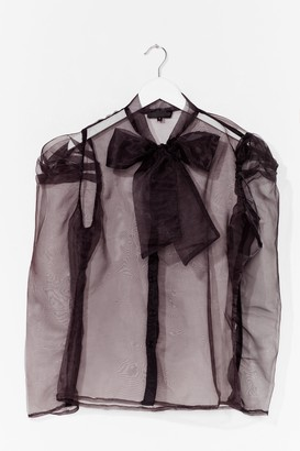 Nasty Gal Womens Bow 'Em How It's Done Organza Blouse - Black - S, Black