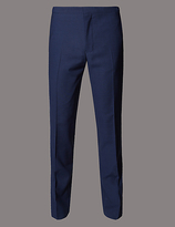 Autograph Navy Textured Slim Fit Flat Front Trousers