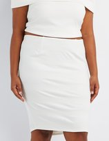 Charlotte Russe Plus Size Textured Midi Pencil Skirt