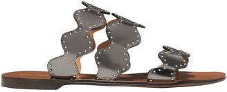 Chloé Lauren Scalloped Studded Metallic Leather Slides