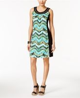 NY Collection Petite Printed Colorblocked Fit and Flare Dress