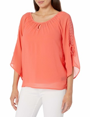 Amy Byer Women's Scoopneck Tie Sleeve Top
