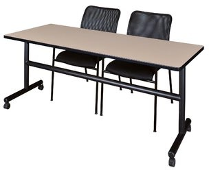 """BEIGE Marin Training Table with Chairs Symple Stuff Size: 29"""" H x 72"""" L x 24"""" W, Tabletop Finish"""