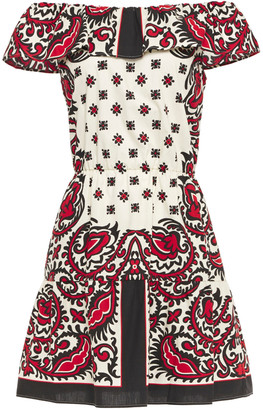 RED Valentino Off-the-shoulder Printed Cotton-poplin Mini Dress