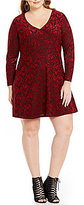 Jessica Simpson Plus Vera V-Neck Long Sleeve Fit-And-Flare Dress