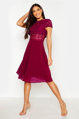 boohoo Lace Top Chiffon Skater Dress