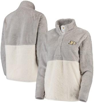 Women's Gray/Cream Purdue Boilermakers Fuzzy Fleece Colorblocked Four-Snap Pullover Jacket