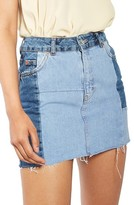 Topshop Women's Colorblock Denim Miniskirt