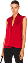 Victoria Beckham Satin Back Crepe Sleeveless Blouse in Red.