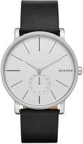 Skagen Men's Chronograph Hagen Black Leather Strap Watch 40mm SKW6274