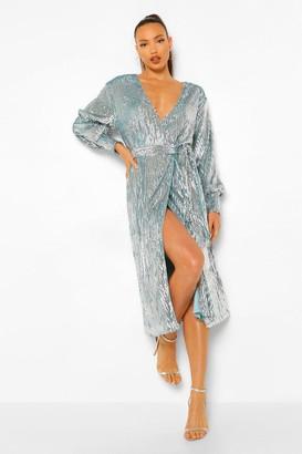 boohoo Tall Sequin Wrap Balloon Sleeve Midi Dress